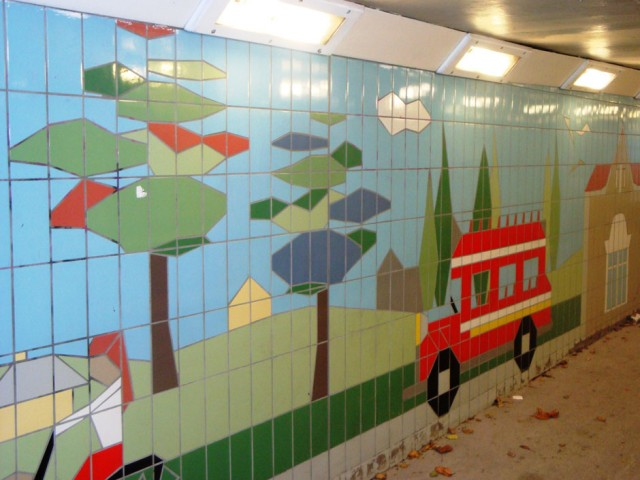 Fiveways Subway Tiling Detail Trees and Bus