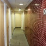 Brentford Fountain Leisure Centre, Changing Room, Red Tiling